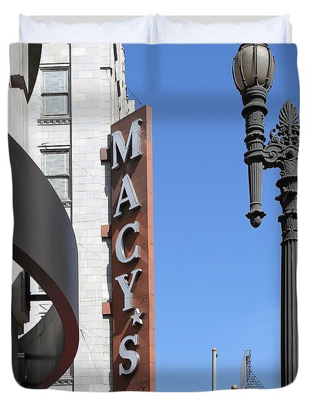 Macys Department Store In San Francisco Duvet Cover by Wingsdomain Art and Photography