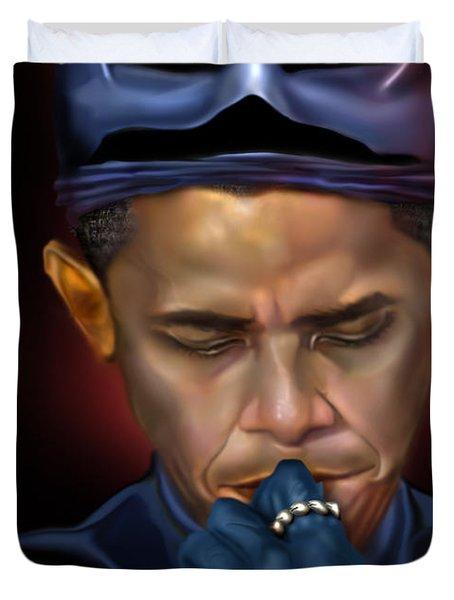 Mad Men Series 1 Of 6 - President Obama The Dark Knight Duvet Cover by Reggie Duffie