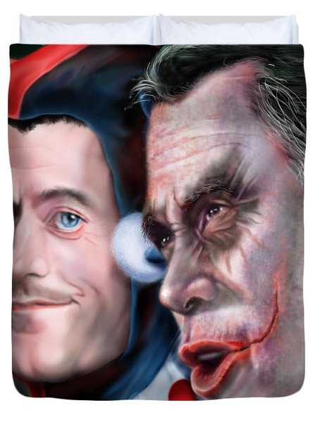 Mad Men Series  4 Of 6 - Romney And Ryan Duvet Cover by Reggie Duffie