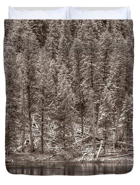 Madison River Yellowstone Bw Duvet Cover by Steve Gadomski