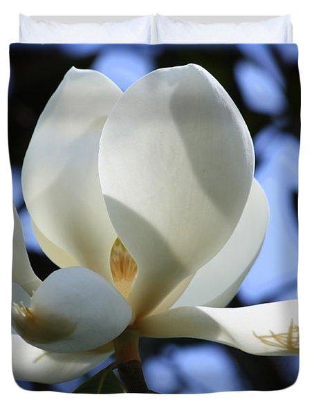 Magnolia in Blue Duvet Cover by Carol Groenen