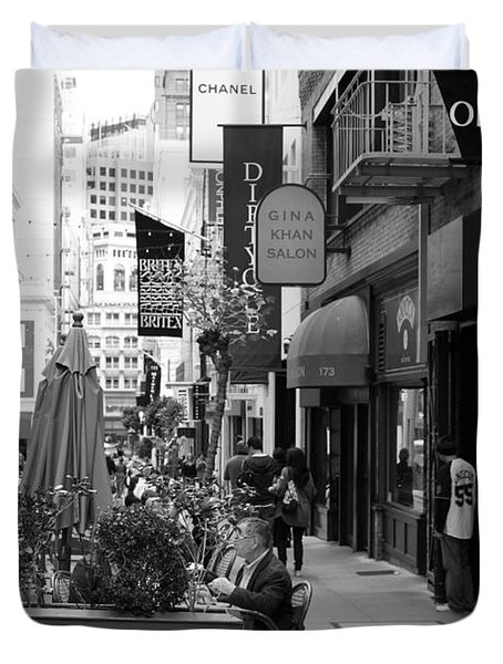 Maiden Lane San Francisco California - 5d19376 - Black And White Duvet Cover by Wingsdomain Art and Photography