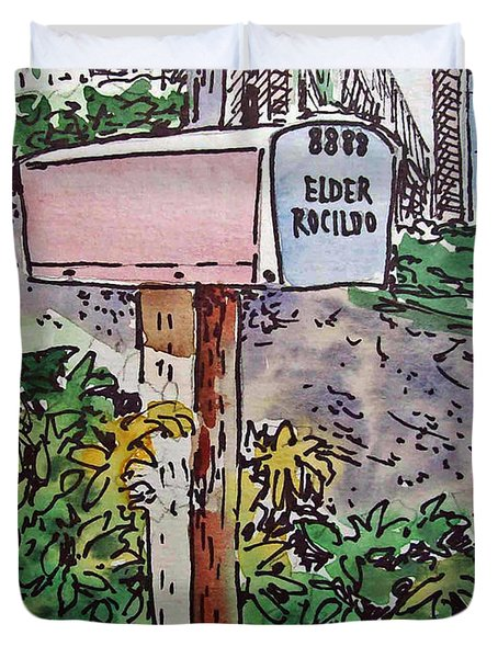 Mailbox Sketchbook Project Down My Street Duvet Cover by Irina Sztukowski