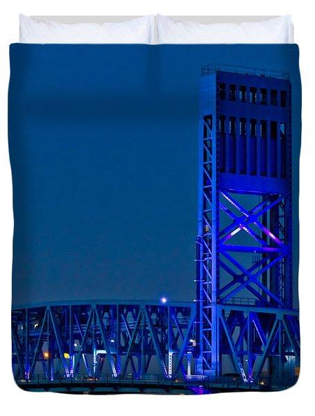 Main Street Bridge Jacksonville Duvet Cover by Debra and Dave Vanderlaan