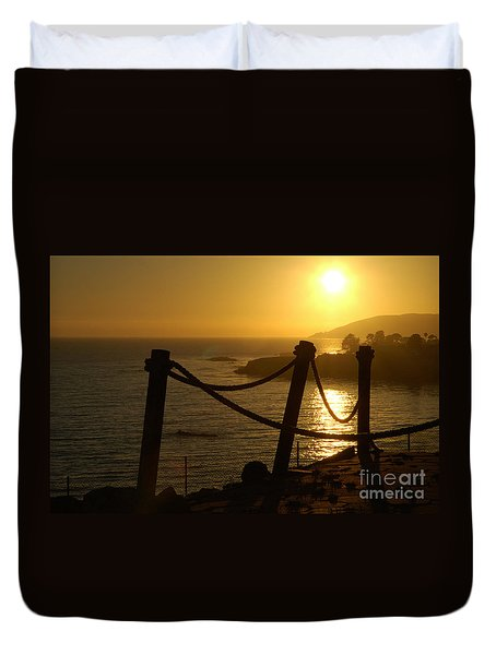 Malibu Sunset Duvet Cover by Micah May