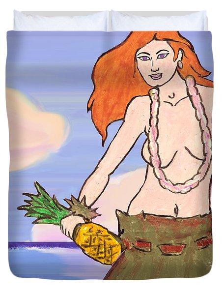 Maluhia Hula Girl Duvet Cover by William Depaula