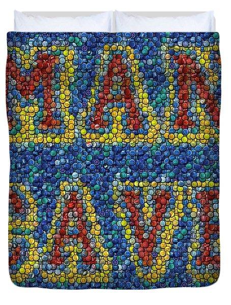 Man Cave Bottle Cap Mosaic Duvet Cover by Paul Van Scott