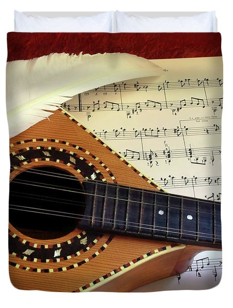 Mandolin And Partiture Duvet Cover by Carlos Caetano