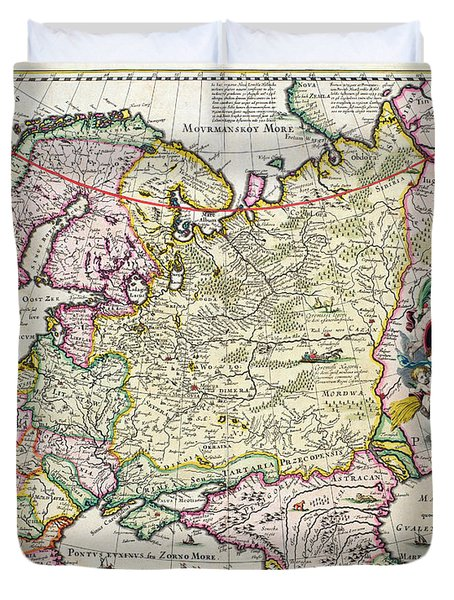 Map Of Asia Minor Duvet Cover by Nicolaes Visscher