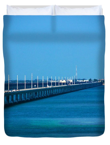 Marathon And The 7mile Bridge In The Florida Keys Duvet Cover by Susanne Van Hulst