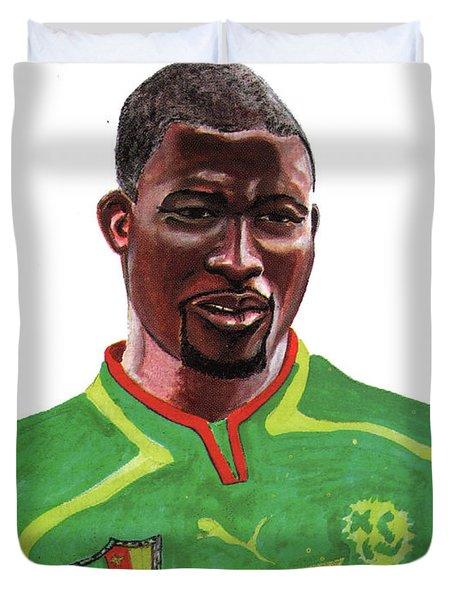 Marc Vivien Foe Duvet Cover by Emmanuel Baliyanga