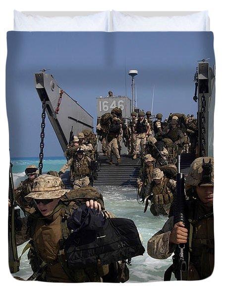 Marines Disembark A Landing Craft Duvet Cover by Stocktrek Images