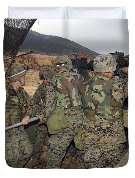 Marines Load A 98-pound High Explosive Duvet Cover by Stocktrek Images