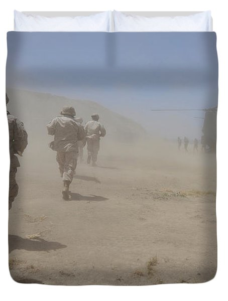 Marines Move Through A Dust Cloud Duvet Cover by Stocktrek Images