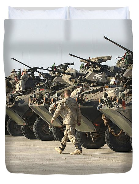 Marines Perform Maintenance On Light Duvet Cover by Stocktrek Images