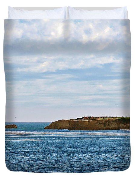 Mark Abbot Memorial Lighthouse - Lighthouse on the beach - Santa Cruz CA USA Duvet Cover by Christine Till