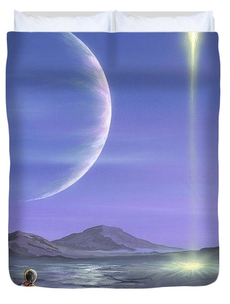 Marooned Astronaut Duvet Cover by Richard Bizley and Photo Researchers