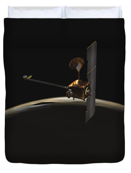 Mars Odyssey Spacecraft Over Martian Duvet Cover by Stocktrek Images