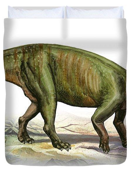 Massospondylus Carinatus, A Prehistoric Duvet Cover by Sergey Krasovskiy