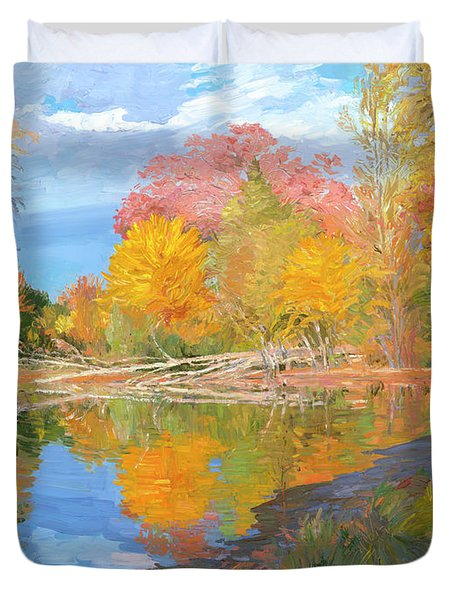 Mayslake At Fall Duvet Cover by Judith Barath