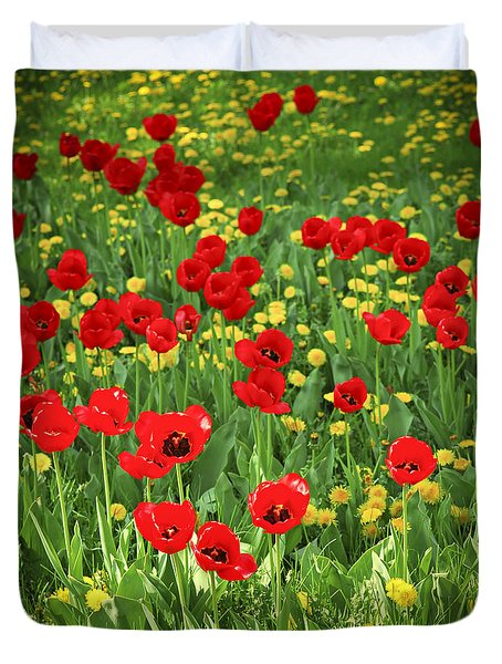 Meadow with tulips Duvet Cover by Elena Elisseeva