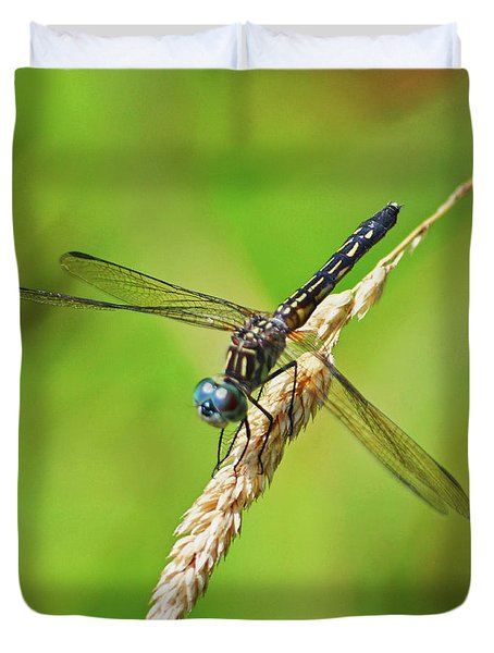 Duvet Cover featuring the photograph Meadowhawk by Rodney Campbell