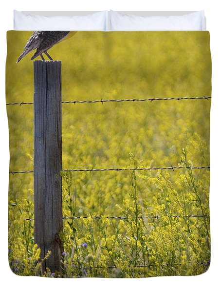 Meadowlark Singing Duvet Cover by Randall Nyhof