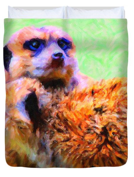 Meerkats . 7d4176 Duvet Cover by Wingsdomain Art and Photography