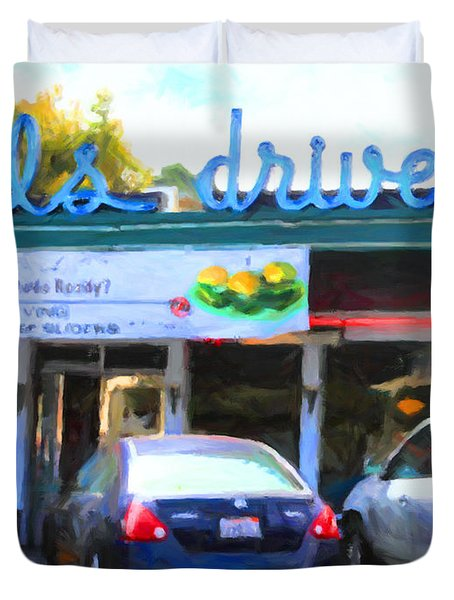 Mel's Drive-in Diner In San Francisco - 5d18014 - Painterly Duvet Cover by Wingsdomain Art and Photography