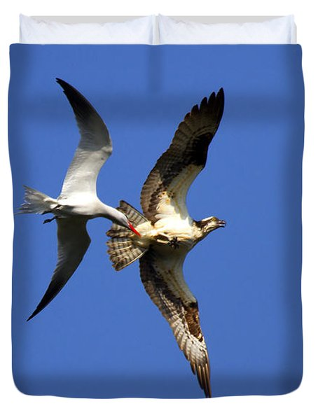 Mid-air Attack Duvet Cover by Mike  Dawson