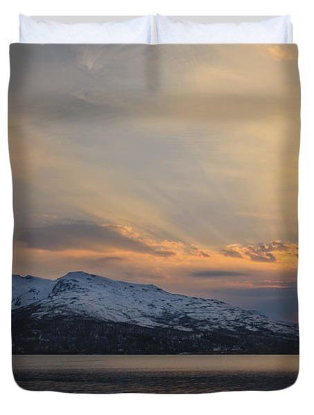 Midnight Sun Over Tjeldsundet Strait Duvet Cover by Arild Heitmann