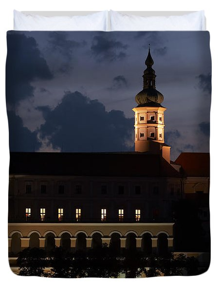 Mikulov castle at night Duvet Cover by Michal Boubin