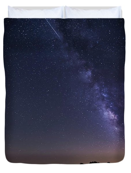 Milky Way And Perseid Meteor Shower Duvet Cover by John Davis