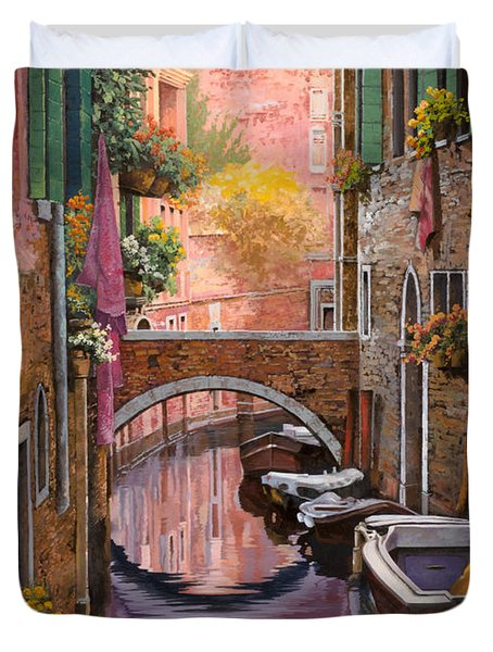 Mimosa Sui Canali Duvet Cover by Guido Borelli
