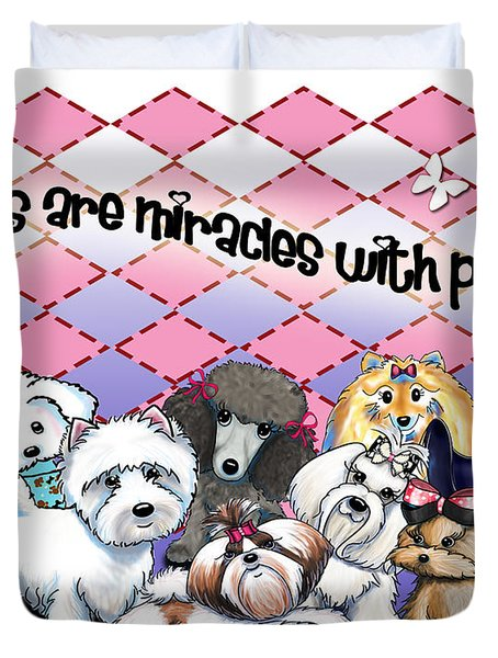 Miracles With Paws Duvet Cover by Catia Cho