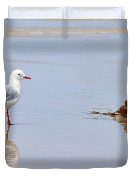 Mirrored Seagull Duvet Cover by Kaye Menner