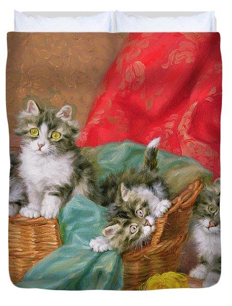 Mischievous Kittens Duvet Cover by Daniel Merlin