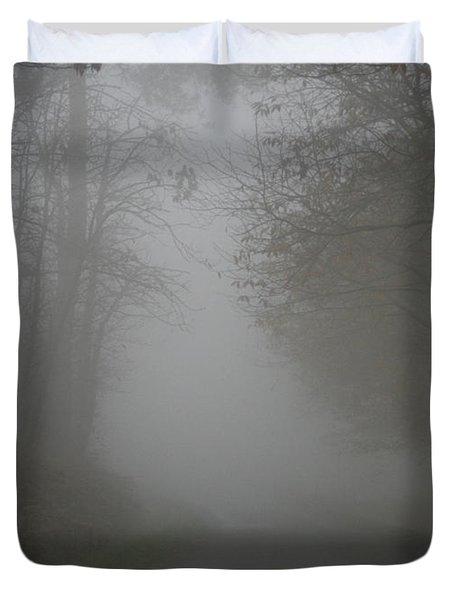 Mist Fog And The Road Duvet Cover by Nomad Art And  Design