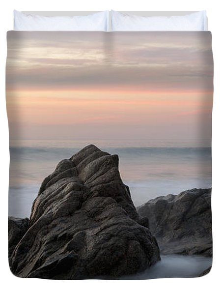 Mist Surrounding Rocks In The Ocean Duvet Cover by Keith Levit