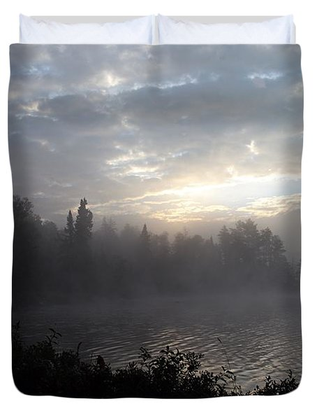 Misty Dawn On Boot Lake Duvet Cover by Larry Ricker