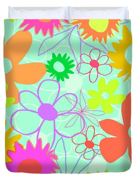Mixed Flowers Duvet Cover by Louisa Knight