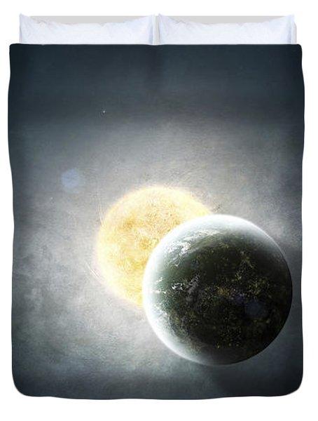 Moments Before A Total Eclipse Duvet Cover by Tomasz Dabrowski