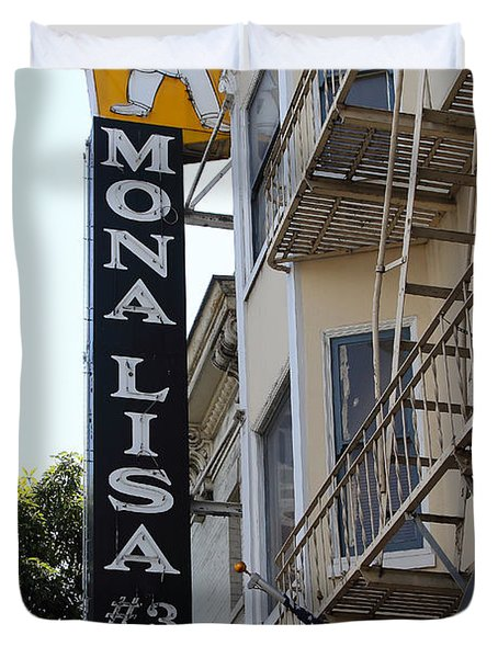 Mona Lisa Restaurant In North Beach San Francisco Duvet Cover by Wingsdomain Art and Photography