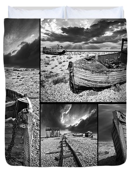 Montage Of Wrecked Boats Duvet Cover by Meirion Matthias