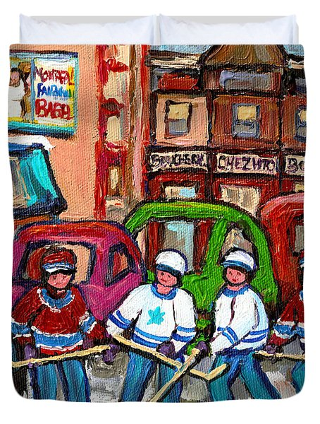 Montreal Bagels And Hockey Duvet Cover by Carole Spandau