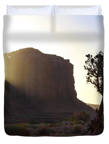 Monument Valley At Sunset Duvet Cover by Mike McGlothlen