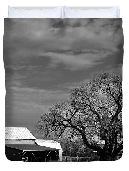 Moon Lit Farm Duvet Cover by Todd Hostetter