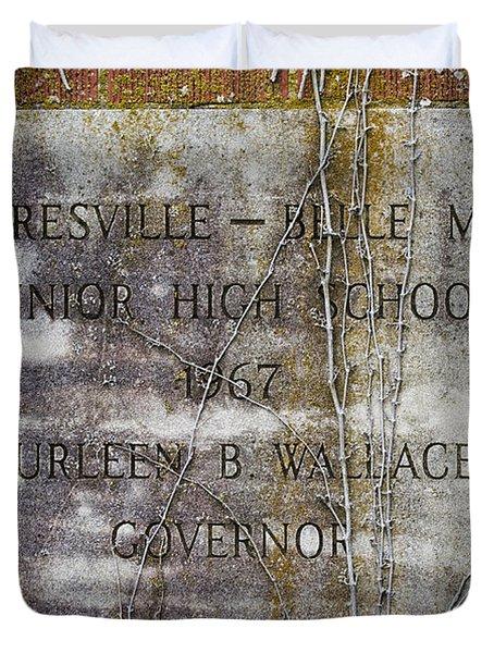 Mooresville - Belle Mina Junior High School 1967 Duvet Cover by Kathy Clark