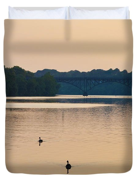 Morning Along the Schuylkill River Duvet Cover by Bill Cannon