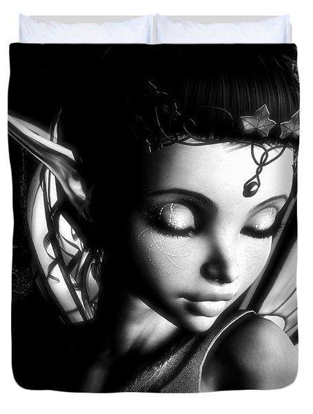 Morning Fairy Bw Duvet Cover by Alexander Butler